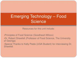 Emerging Technology – Food Science