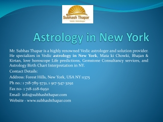 A Complete Astrology Services by Mr. Subhas Thapar