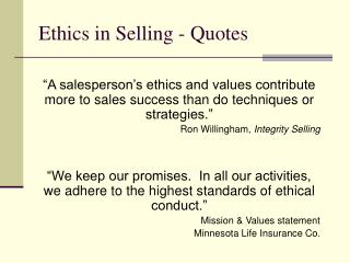 Ethics in Selling - Quotes