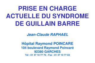 LE SYNDROME DE  GUILLAIN BARRE
