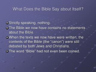 What Does the Bible Say about Itself?