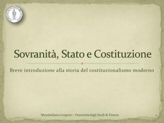 Sovranità, Stato e Costituzione