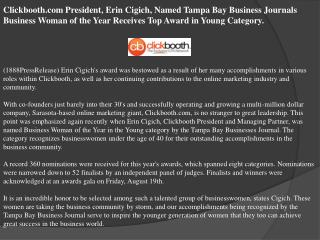 clickbooth.com president, erin cigich, named tampa bay busin