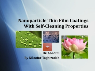 nano thin film coating with self cleaning properties
