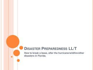 Disaster Preparedness LL/T