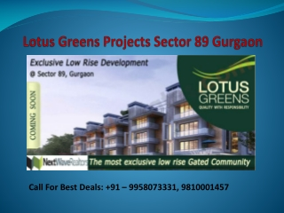 Lotus Greens Projects Sector 89 Gurgaon