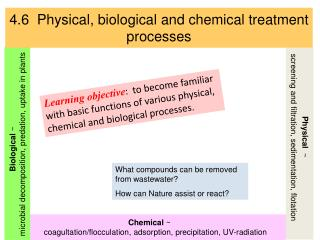 4.6  Physical, biological and chemical treatment processes