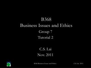B368  Business Issues and Ethics