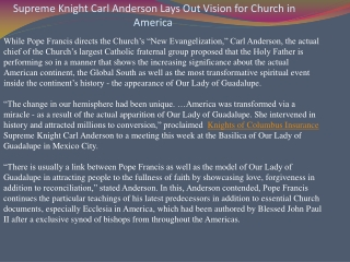 Supreme Knight Carl Anderson Lays Out Vision for Church in A