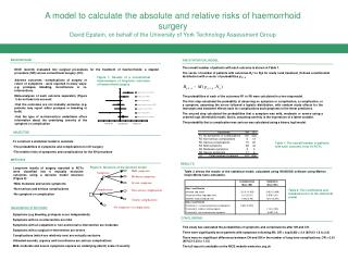 A model to calculate the absolute and relative risks of haemorrhoid  surgery David Epstein, on behalf of the University