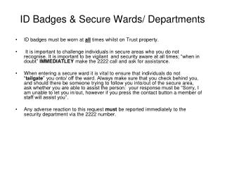 ID Badges & Secure Wards/ Departments
