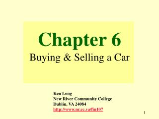Chapter 6 Buying & Selling a Car