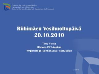 Riihimäen Vesihuoltopäivä 20.10.2010