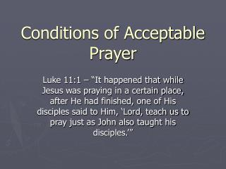 Conditions of Acceptable Prayer