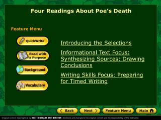 Introducing the Selections Informational Text Focus: Synthesizing Sources: Drawing Conclusions Writing Skills Focus: Pre