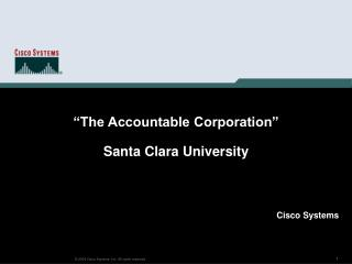 """The Accountable Corporation"" Santa Clara University"