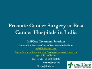 Prostate Cancer Surgery at Best Cancer Hospitals in India