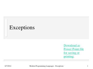 Exceptions
