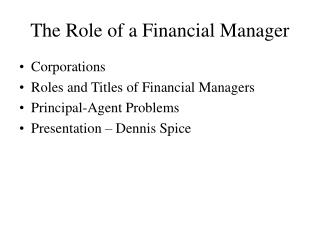 The Role of a Financial Manager