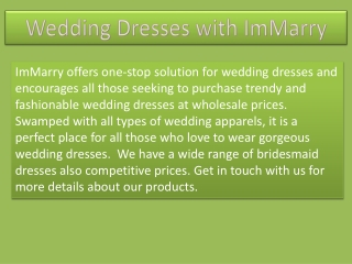 Buy Wedding Dresses with ImMarry