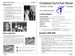 Clubblad GymClub Tienen