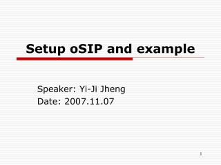 Setup oSIP and example