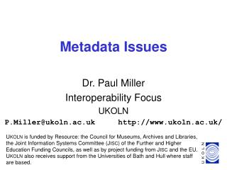 Metadata Issues