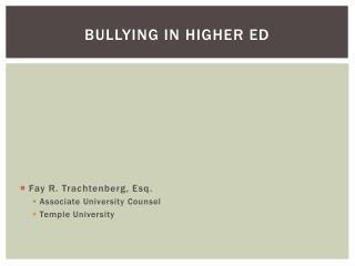 Bullying In Higher Ed