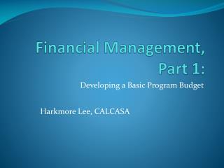 Financial Management, Part 1: