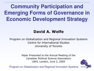 Community Participation and Emerging Forms of Governance in Economic Development Strategy
