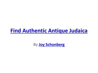 Find Authentic Antique Judaica
