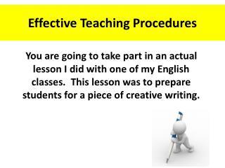 Effective Teaching Procedures