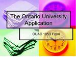 the ontario university application