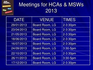 Meetings for HCAs & MSWs 2013