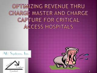 Optimizing Revenue Thru Charge Master and Charge Capture for Critical Access Hospitals