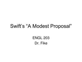"""Swift's """"A Modest Proposal"""""""
