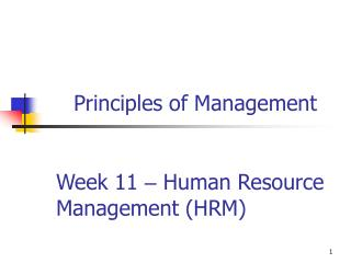 Week 11  –  Human Resource Management (HRM)