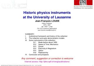 historic physics instruments  at the university of lausanne  jean-fran ois loude  author s address:  epfl