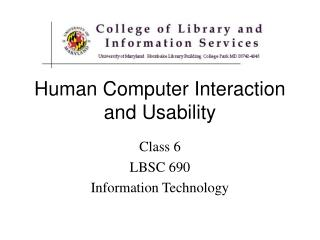 Human Computer Interaction and Usability