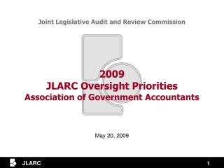 2009 JLARC Oversight Priorities Association of Government Accountants