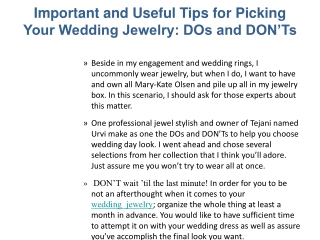 Important and Useful Tips for Picking Your Wedding Jewelry: