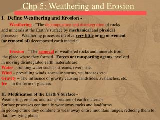 Chp 5: Weathering and Erosion
