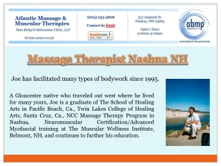 Massage Therapist Nashua NH