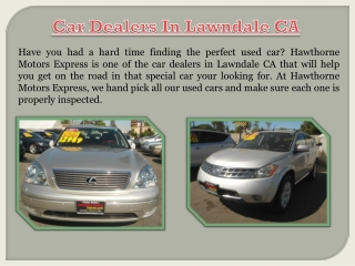 Pre-Owned Cars Lawndale