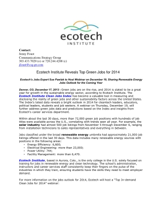 Ecotech Institute Reveals Top Green Jobs for 2014