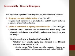 Reviewability – General Principles
