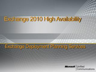 Exchange Deployment Planning Services