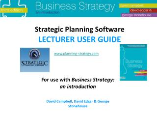 Strategic Planning Software LECTURER USER GUIDE