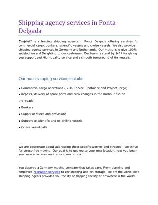 shipping agency services in Ponta Delgada