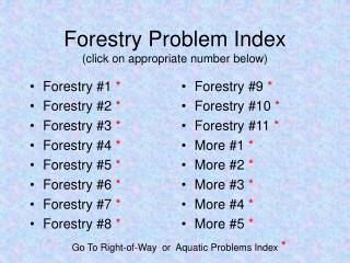Forestry Problem Index (click on appropriate number below)